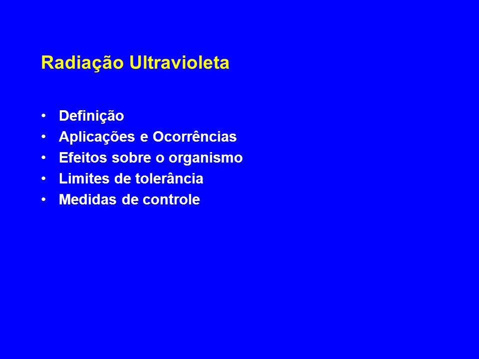 Radiação Ultravioleta Definição Aplicações e Ocorrências Efeitos sobre o organismo Limites de tolerância Medidas de controle