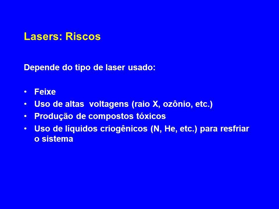 Lasers: Riscos Depende do tipo de laser usado: Feixe Uso de altas voltagens (raio X, ozônio, etc.) Produção de compostos tóxicos Uso de líquidos criog