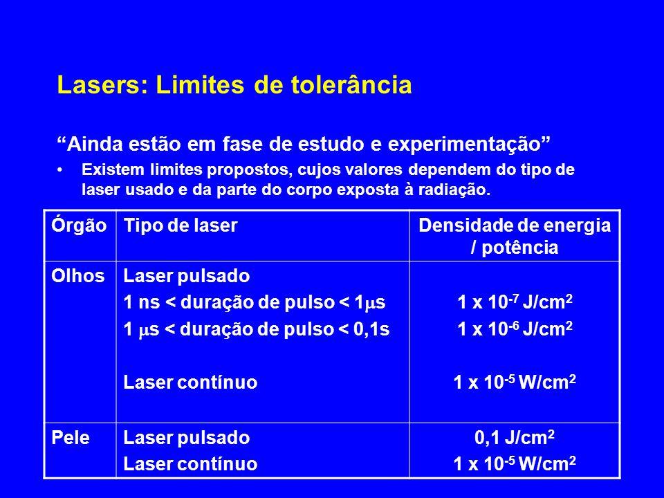 Lasers: Limites de tolerância Ainda estão em fase de estudo e experimentação Existem limites propostos, cujos valores dependem do tipo de laser usado