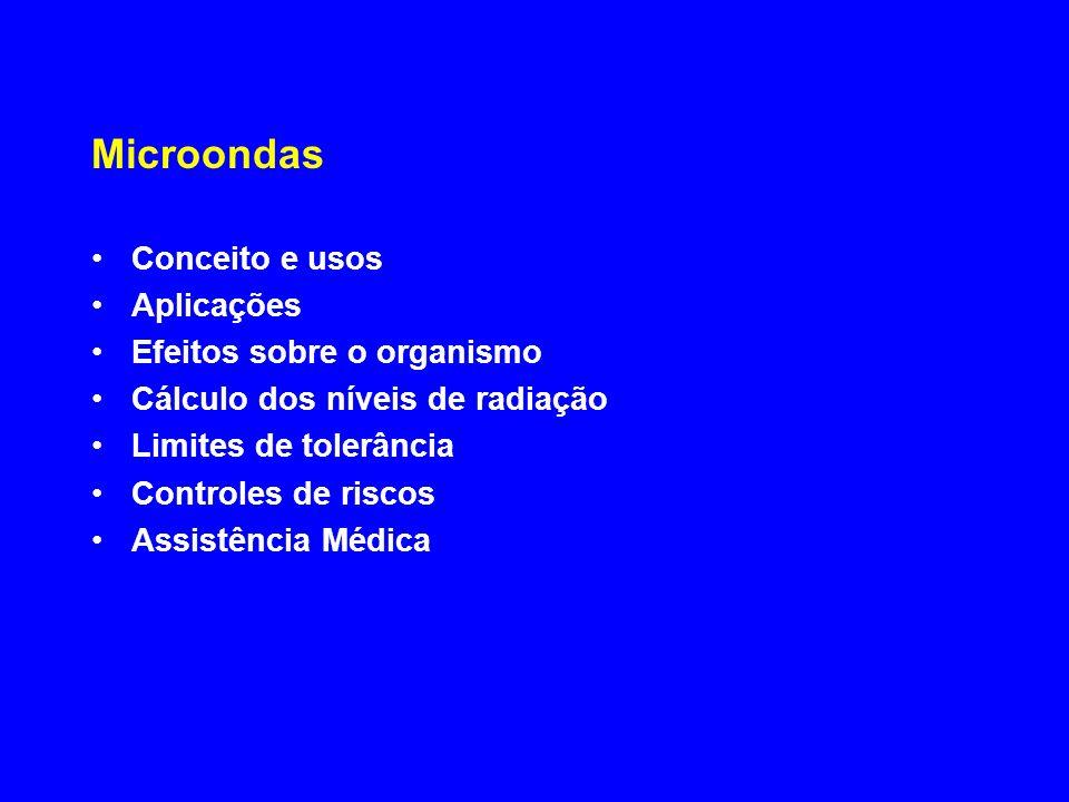 Microondas Conceito e usos Aplicações Efeitos sobre o organismo Cálculo dos níveis de radiação Limites de tolerância Controles de riscos Assistência M