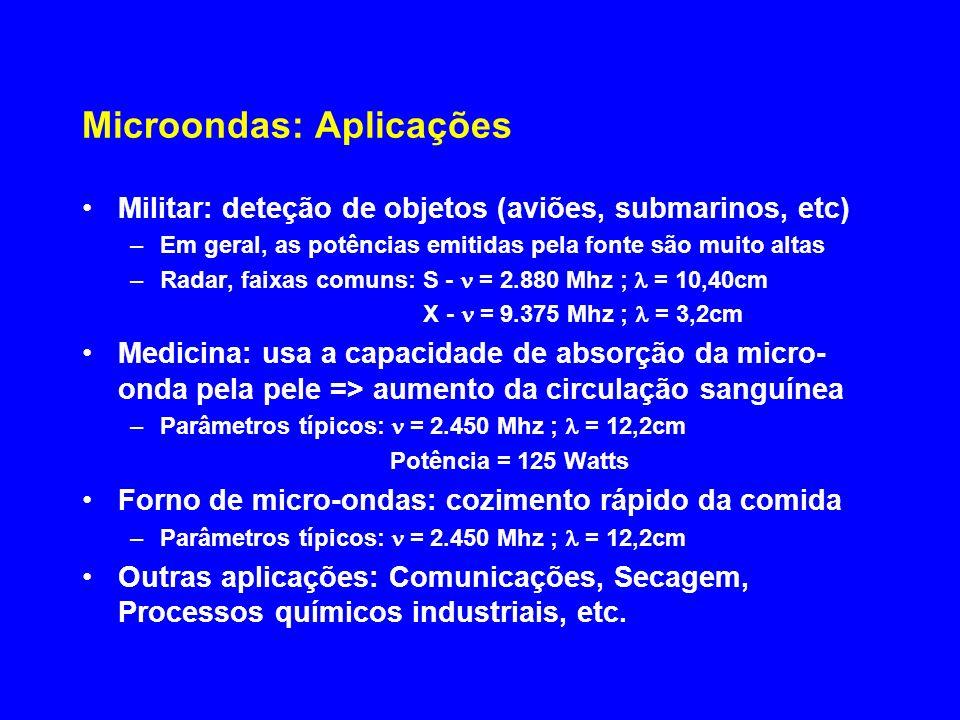 Microondas: Efeitos sobre o organismo (1/2) Efeitos dependem de fatores: –Intensidade da radiação incidentes sobre a pele –Tempo de exposição –Freqüência ou comprimento de onda –Espessura do tecido –Composição do tecido Dependendo da Freqüência Efeito (MHz) Reflexão ou absorção pela pele (aquecimento rápido da pele) 3.000 Penetração afetando tecido adiposo 1000 3.000 Maior penetração > maior perigo, afetando tecidos dos órgãos internos 1.000