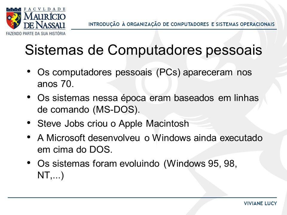 INTRODUÇÃO À ORGANIZAÇÃO DE COMPUTADORES E SISTEMAS OPERACIONAIS VIVIANE LUCY Sistemas de Computadores pessoais Os computadores pessoais (PCs) aparece