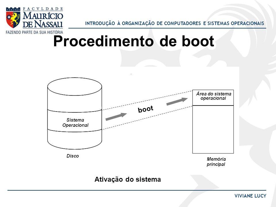 INTRODUÇÃO À ORGANIZAÇÃO DE COMPUTADORES E SISTEMAS OPERACIONAIS VIVIANE LUCY Procedimento de boot boot Ativação do sistema