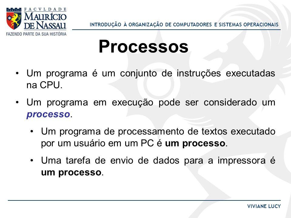 INTRODUÇÃO À ORGANIZAÇÃO DE COMPUTADORES E SISTEMAS OPERACIONAIS VIVIANE LUCY Processos Um programa é um conjunto de instruções executadas na CPU. Um
