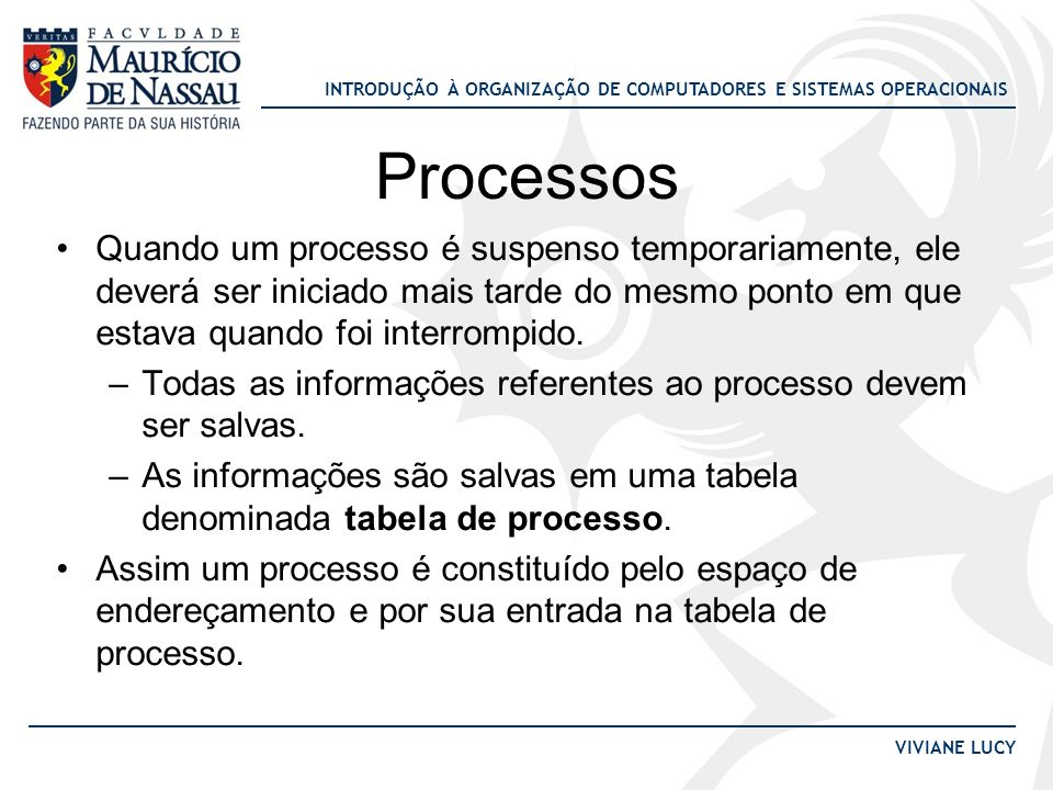 INTRODUÇÃO À ORGANIZAÇÃO DE COMPUTADORES E SISTEMAS OPERACIONAIS VIVIANE LUCY Processos Quando um processo é suspenso temporariamente, ele deverá ser