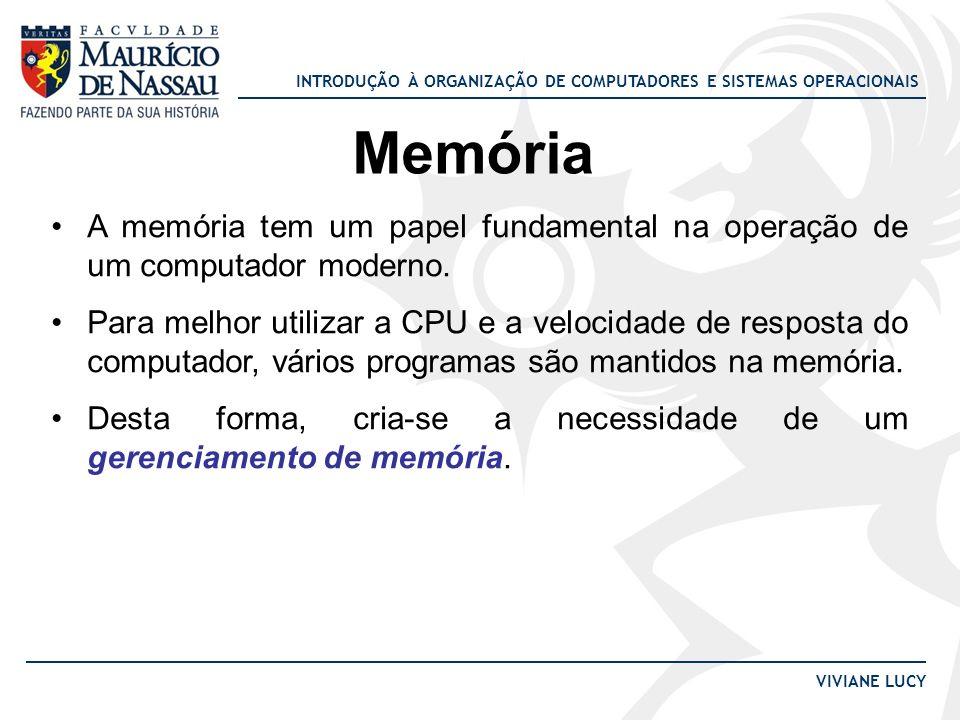 INTRODUÇÃO À ORGANIZAÇÃO DE COMPUTADORES E SISTEMAS OPERACIONAIS VIVIANE LUCY Memória A memória tem um papel fundamental na operação de um computador