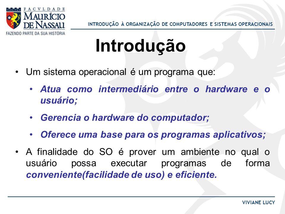 INTRODUÇÃO À ORGANIZAÇÃO DE COMPUTADORES E SISTEMAS OPERACIONAIS VIVIANE LUCY Introdução Um sistema operacional é um programa que: Atua como intermedi