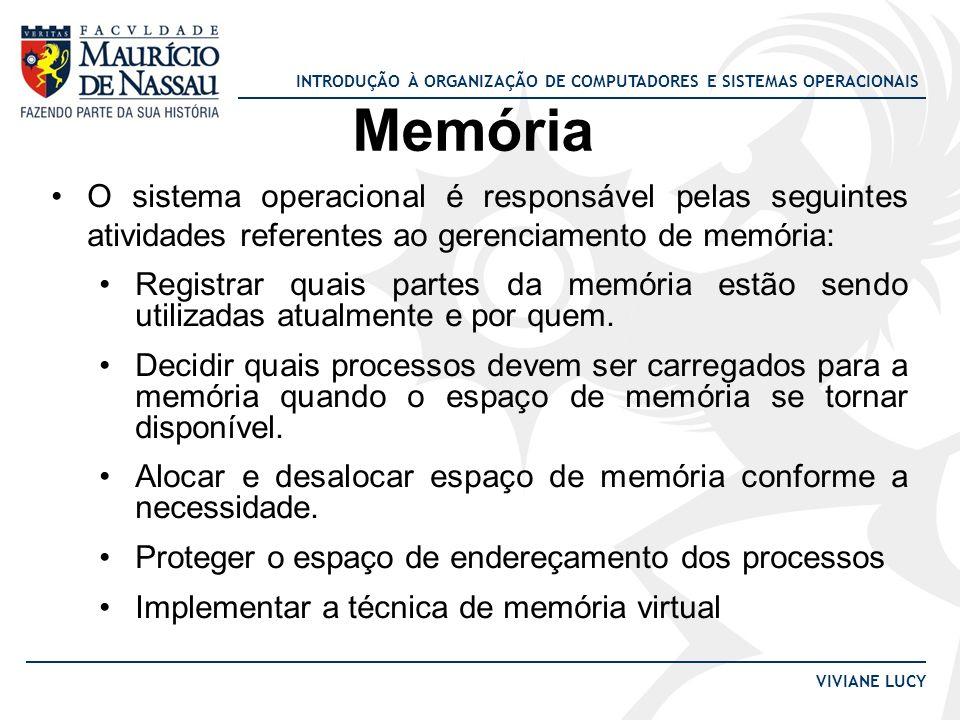 INTRODUÇÃO À ORGANIZAÇÃO DE COMPUTADORES E SISTEMAS OPERACIONAIS VIVIANE LUCY Memória O sistema operacional é responsável pelas seguintes atividades r