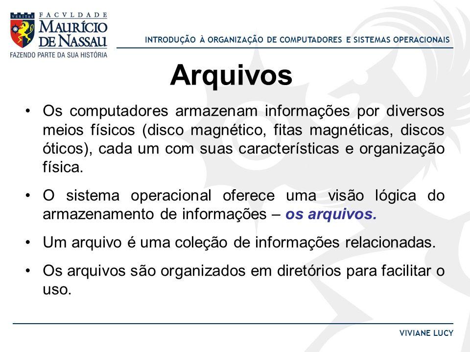 INTRODUÇÃO À ORGANIZAÇÃO DE COMPUTADORES E SISTEMAS OPERACIONAIS VIVIANE LUCY Arquivos Os computadores armazenam informações por diversos meios físico