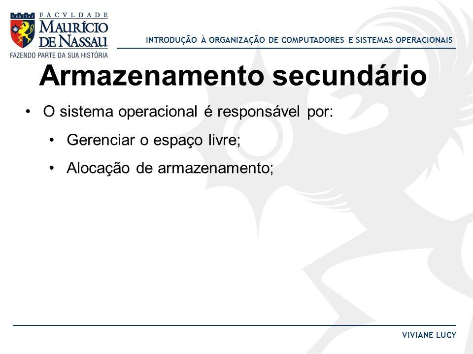INTRODUÇÃO À ORGANIZAÇÃO DE COMPUTADORES E SISTEMAS OPERACIONAIS VIVIANE LUCY Armazenamento secundário O sistema operacional é responsável por: Gerenc