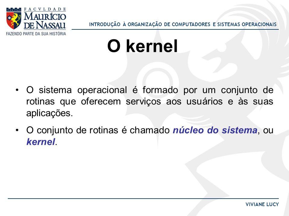 INTRODUÇÃO À ORGANIZAÇÃO DE COMPUTADORES E SISTEMAS OPERACIONAIS VIVIANE LUCY O kernel O sistema operacional é formado por um conjunto de rotinas que