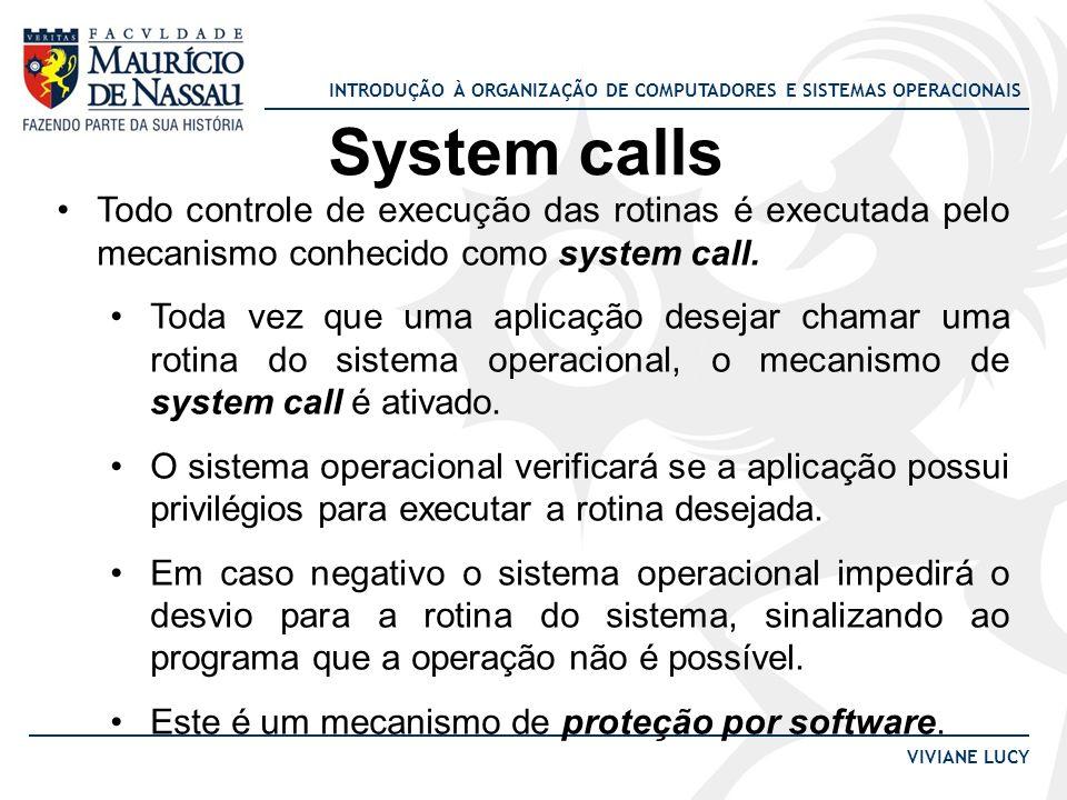 INTRODUÇÃO À ORGANIZAÇÃO DE COMPUTADORES E SISTEMAS OPERACIONAIS VIVIANE LUCY System calls Todo controle de execução das rotinas é executada pelo meca