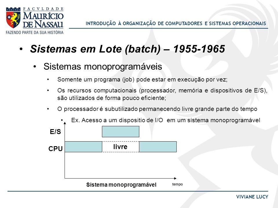 INTRODUÇÃO À ORGANIZAÇÃO DE COMPUTADORES E SISTEMAS OPERACIONAIS VIVIANE LUCY Sistemas em Lote (batch) – 1955-1965 Sistemas monoprogramáveis Somente u