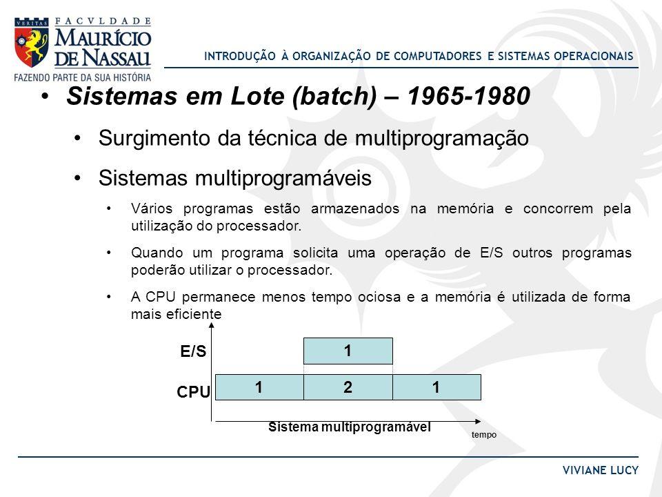 INTRODUÇÃO À ORGANIZAÇÃO DE COMPUTADORES E SISTEMAS OPERACIONAIS VIVIANE LUCY Sistemas em Lote (batch) – 1965-1980 Surgimento da técnica de multiprogr