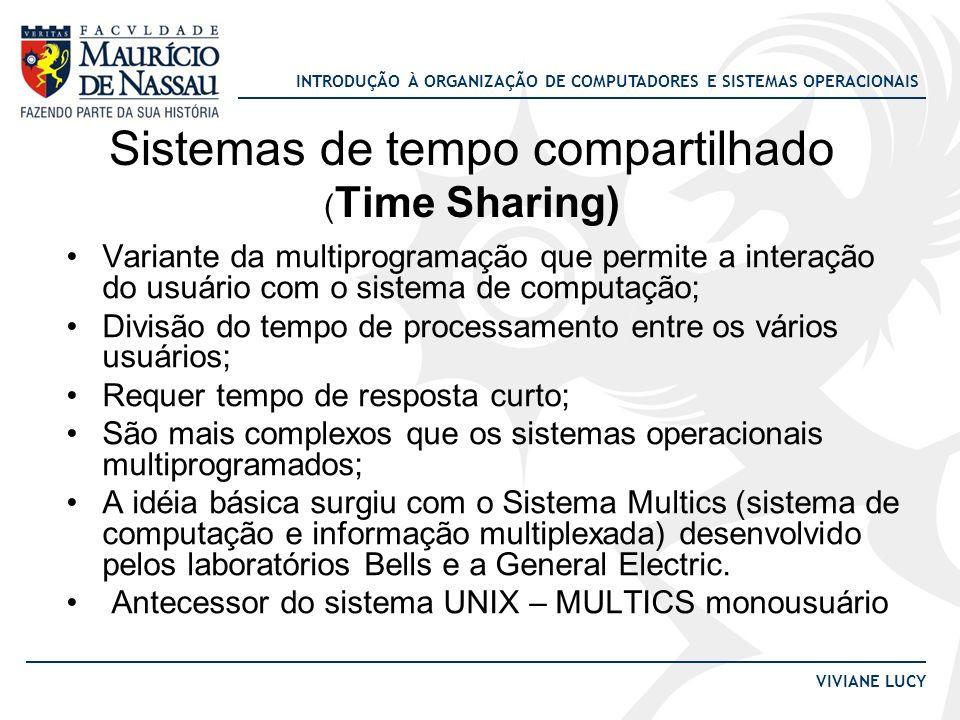 INTRODUÇÃO À ORGANIZAÇÃO DE COMPUTADORES E SISTEMAS OPERACIONAIS VIVIANE LUCY Sistemas de tempo compartilhado ( Time Sharing) Variante da multiprogram