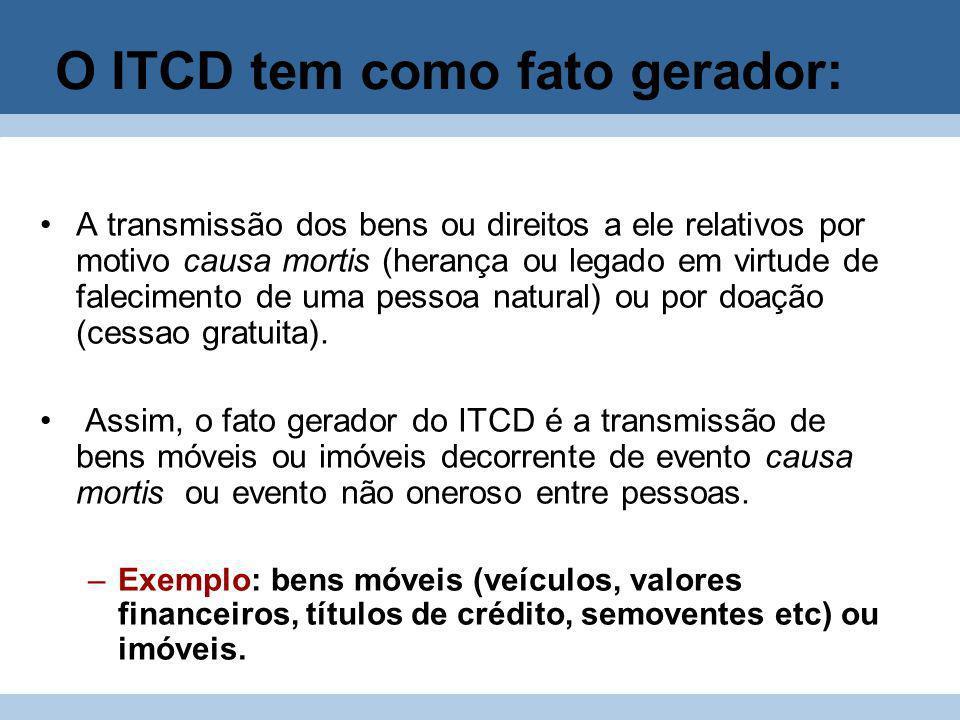 O ITCD tem como fato gerador: A transmissão dos bens ou direitos a ele relativos por motivo causa mortis (herança ou legado em virtude de falecimento