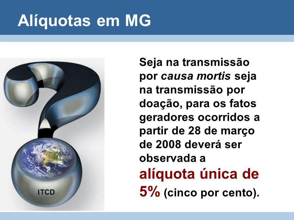 Alíquotas em MG Seja na transmissão por causa mortis seja na transmissão por doação, para os fatos geradores ocorridos a partir de 28 de março de 2008