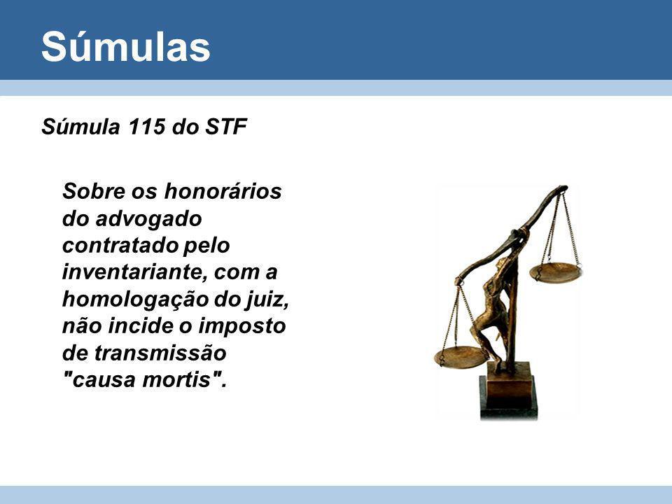 Súmulas Súmula 115 do STF Sobre os honorários do advogado contratado pelo inventariante, com a homologação do juiz, não incide o imposto de transmissã