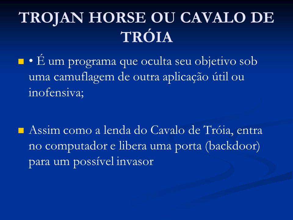 TROJAN HORSE OU CAVALO DE TRÓIA É um programa que oculta seu objetivo sob uma camuflagem de outra aplicação útil ou inofensiva; Assim como a lenda do