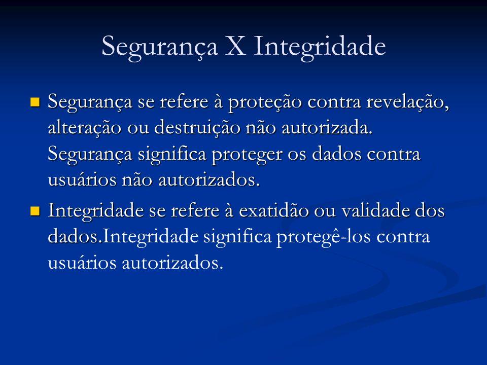 Segurança X Integridade Segurança se refere à proteção contra revelação, alteração ou destruição não autorizada. Segurança significa proteger os dados