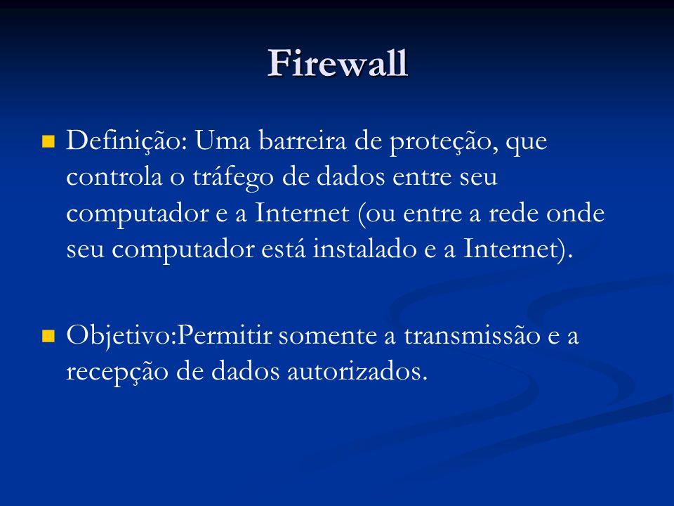 Firewall Definição: Uma barreira de proteção, que controla o tráfego de dados entre seu computador e a Internet (ou entre a rede onde seu computador e
