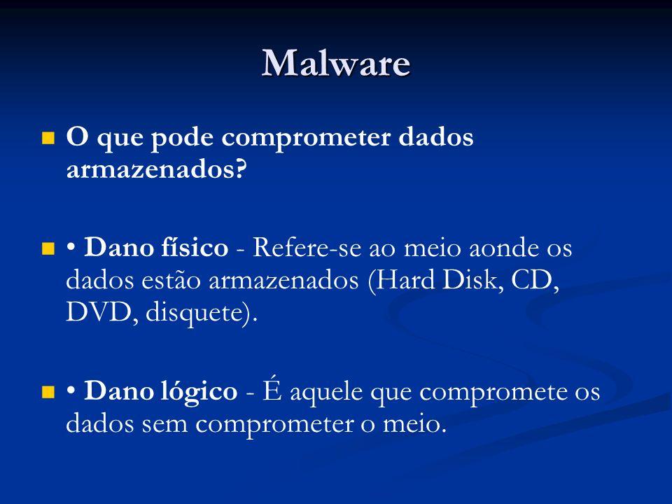 Malware O que pode comprometer dados armazenados? Dano físico - Refere-se ao meio aonde os dados estão armazenados (Hard Disk, CD, DVD, disquete). Dan