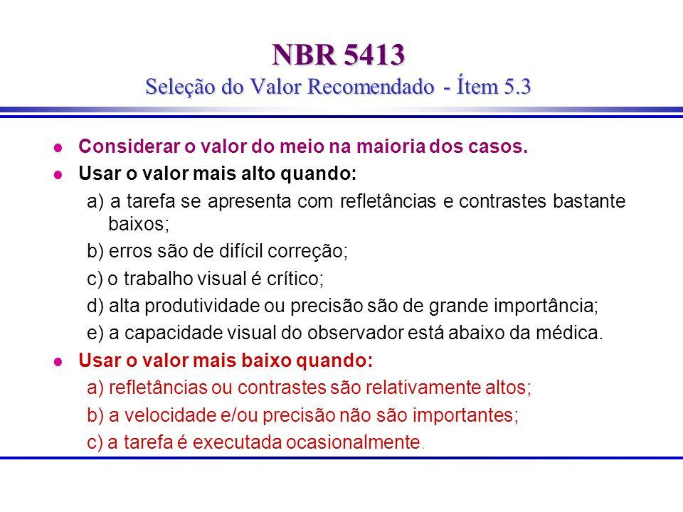 NBR 5413 Seleção do Valor Recomendado - Ítem 5.3 l Considerar o valor do meio na maioria dos casos. l Usar o valor mais alto quando: a) a tarefa se ap