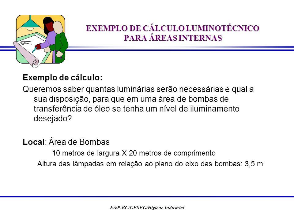 E&P-BC/GESEG/Higiene Industrial EXEMPLO DE CÁLCULO LUMINOTÉCNICO PARA ÁREAS INTERNAS Exemplo de cálculo: Queremos saber quantas luminárias serão neces