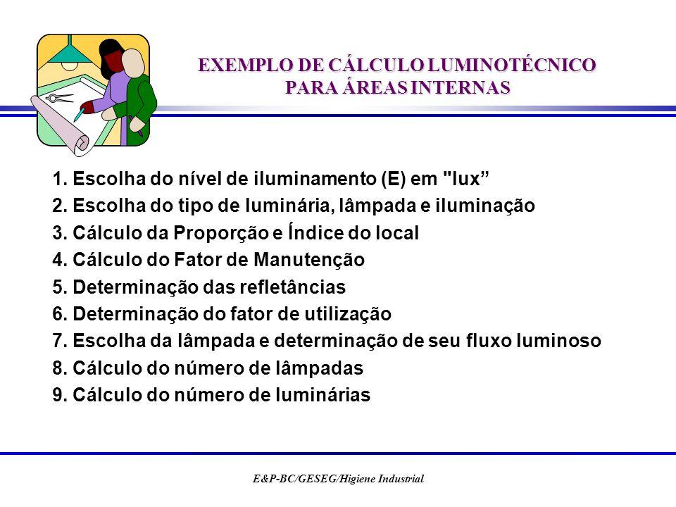 E&P-BC/GESEG/Higiene Industrial EXEMPLO DE CÁLCULO LUMINOTÉCNICO PARA ÁREAS INTERNAS 1. Escolha do nível de iluminamento (E) em