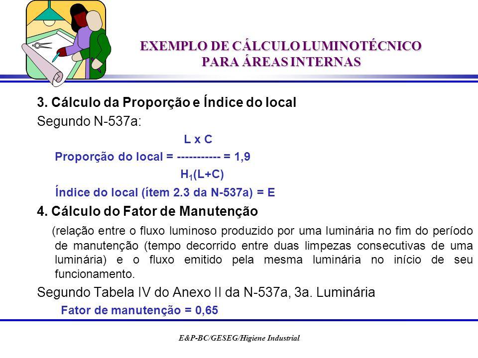 E&P-BC/GESEG/Higiene Industrial EXEMPLO DE CÁLCULO LUMINOTÉCNICO PARA ÁREAS INTERNAS 3. Cálculo da Proporção e Índice do local Segundo N-537a: L x C P