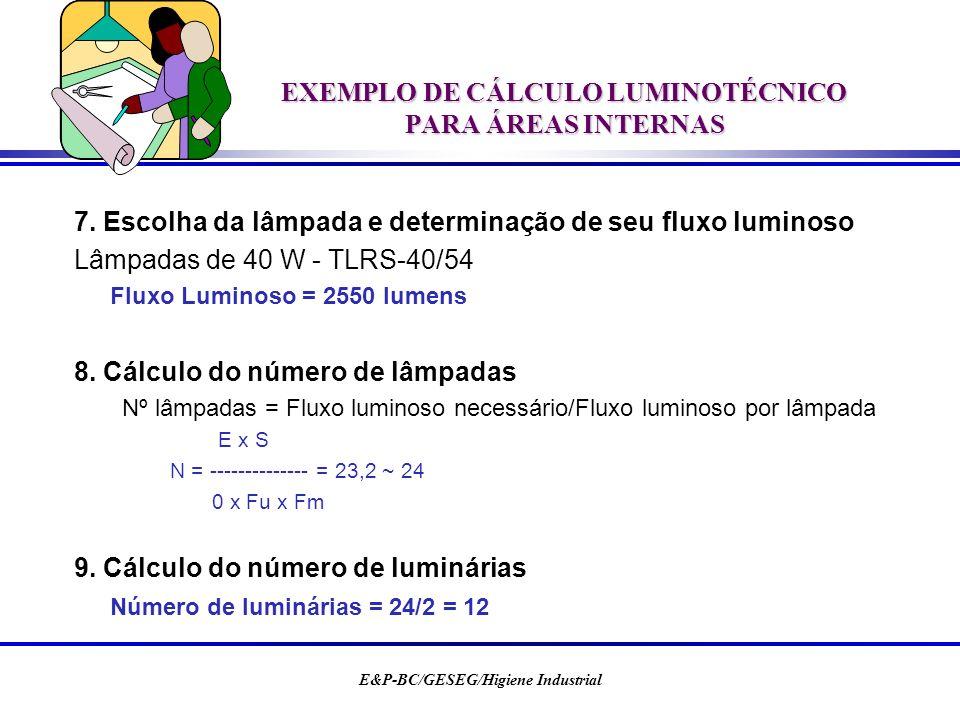 E&P-BC/GESEG/Higiene Industrial EXEMPLO DE CÁLCULO LUMINOTÉCNICO PARA ÁREAS INTERNAS 7. Escolha da lâmpada e determinação de seu fluxo luminoso Lâmpad