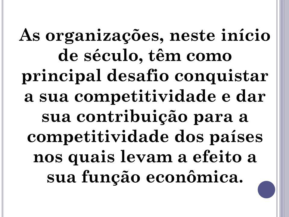 As organizações, neste início de século, têm como principal desafio conquistar a sua competitividade e dar sua contribuição para a competitividade dos