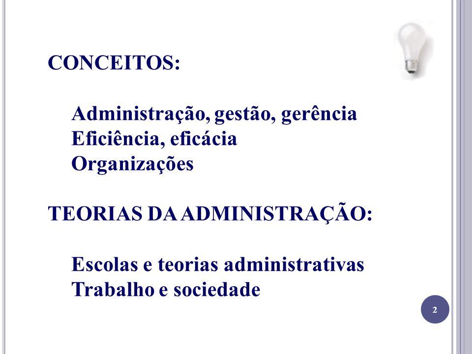 2 CONCEITOS: Administração, gestão, gerência Eficiência, eficácia Organizações TEORIAS DA ADMINISTRAÇÃO: Escolas e teorias administrativas Trabalho e