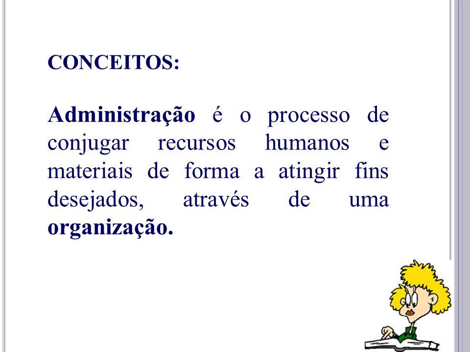 4 CONCEITOS: Administração é o ato de trabalhar com e através de pessoas para realizar os objetivos tanto da organização quanto de seus membros.