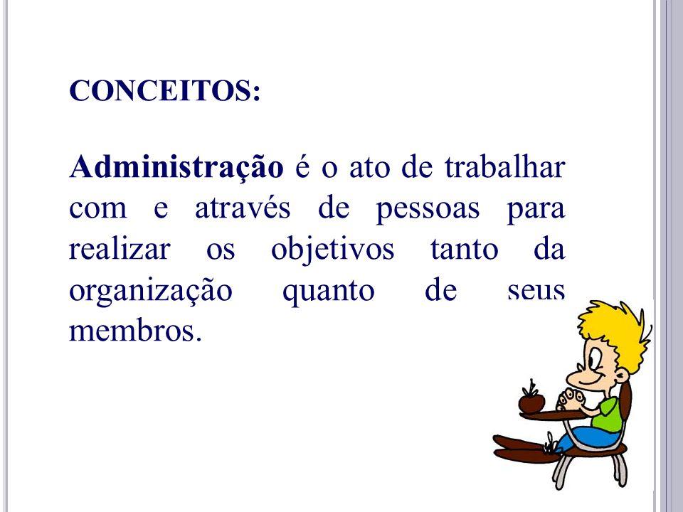 5 CONCEITOS: Administração é o processo de planejar, organizar, dirigir e controlar o uso de recursos a fim de alcançar objetivos.