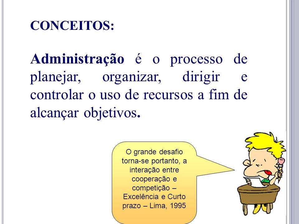 5 CONCEITOS: Administração é o processo de planejar, organizar, dirigir e controlar o uso de recursos a fim de alcançar objetivos. O grande desafio to