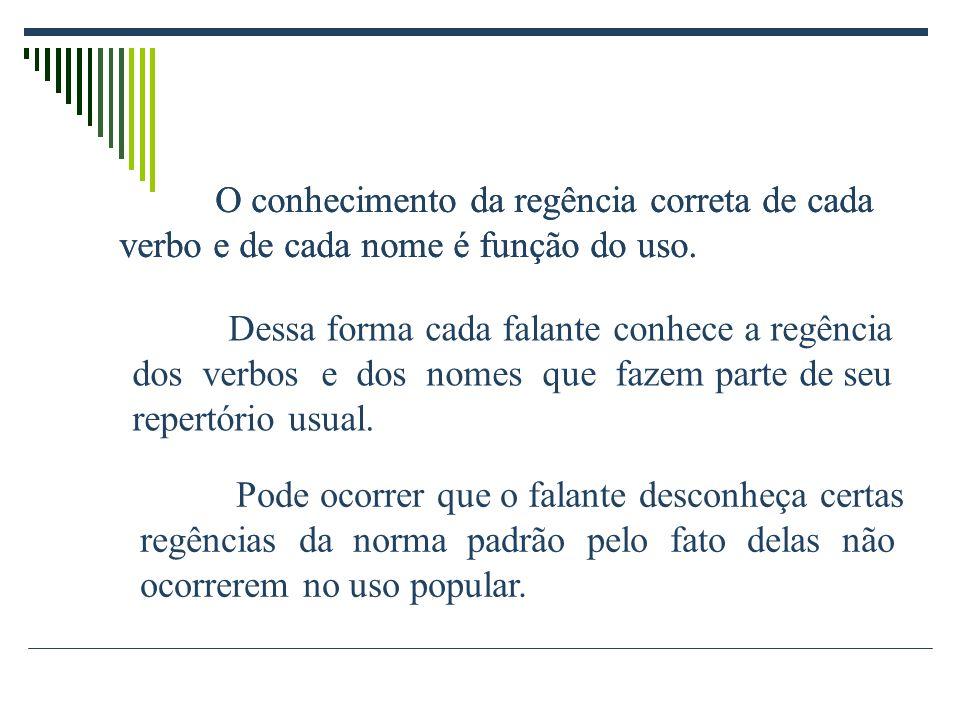 Regência É a relação sintática que se estabelece entre um termo regente ou subordinante (que exige outro) e o termo regido ou subordinado (termo regid