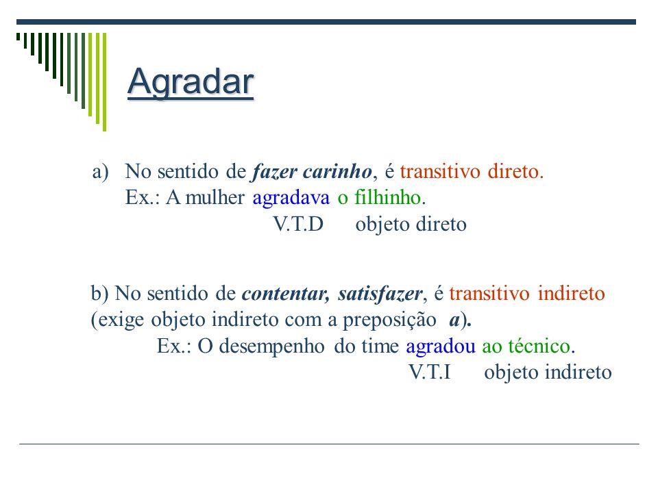 Regência verbal A regência verbal estuda a relação que se estabelece entre o verbo (termo regente) e seu complemento (termo re- gido). Ex.: Isto perte