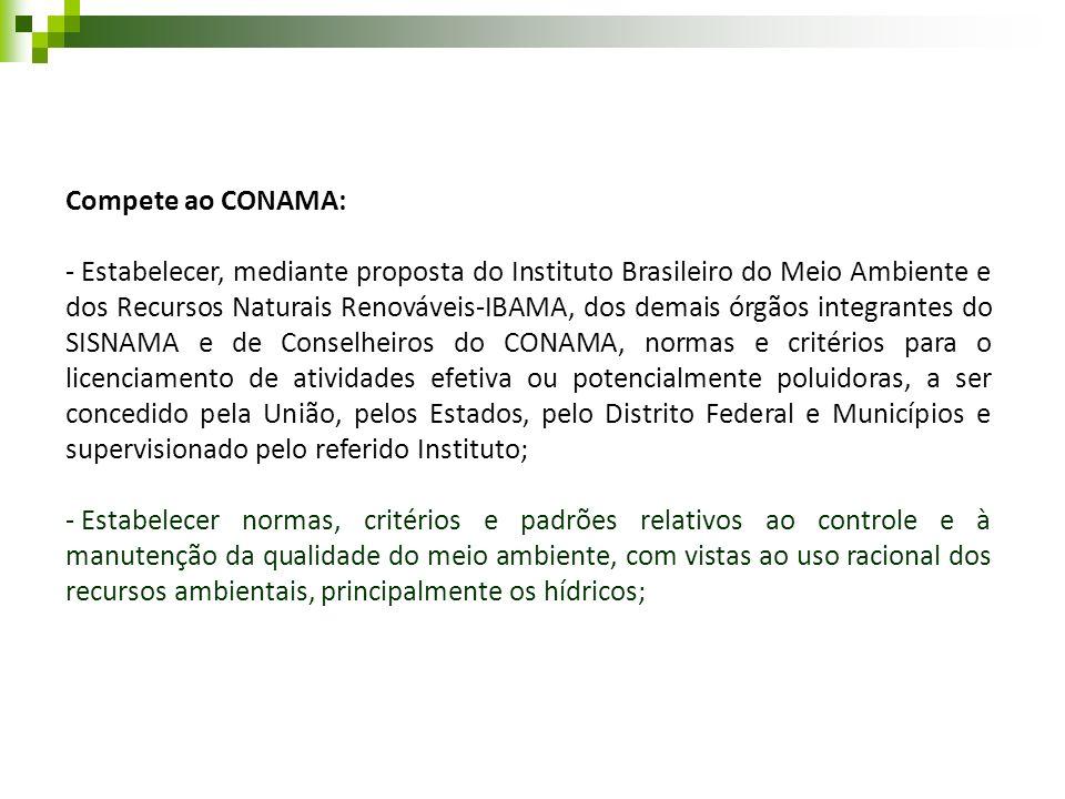 Compete ao CONAMA: - Estabelecer, mediante proposta do Instituto Brasileiro do Meio Ambiente e dos Recursos Naturais Renováveis-IBAMA, dos demais órgã