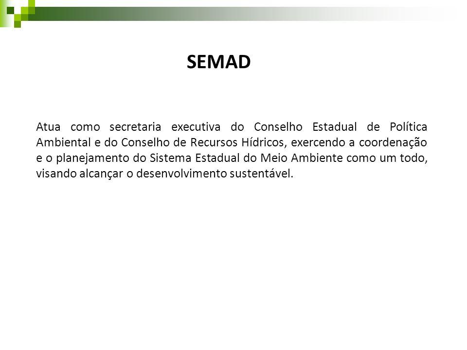 SEMAD Atua como secretaria executiva do Conselho Estadual de Política Ambiental e do Conselho de Recursos Hídricos, exercendo a coordenação e o planej