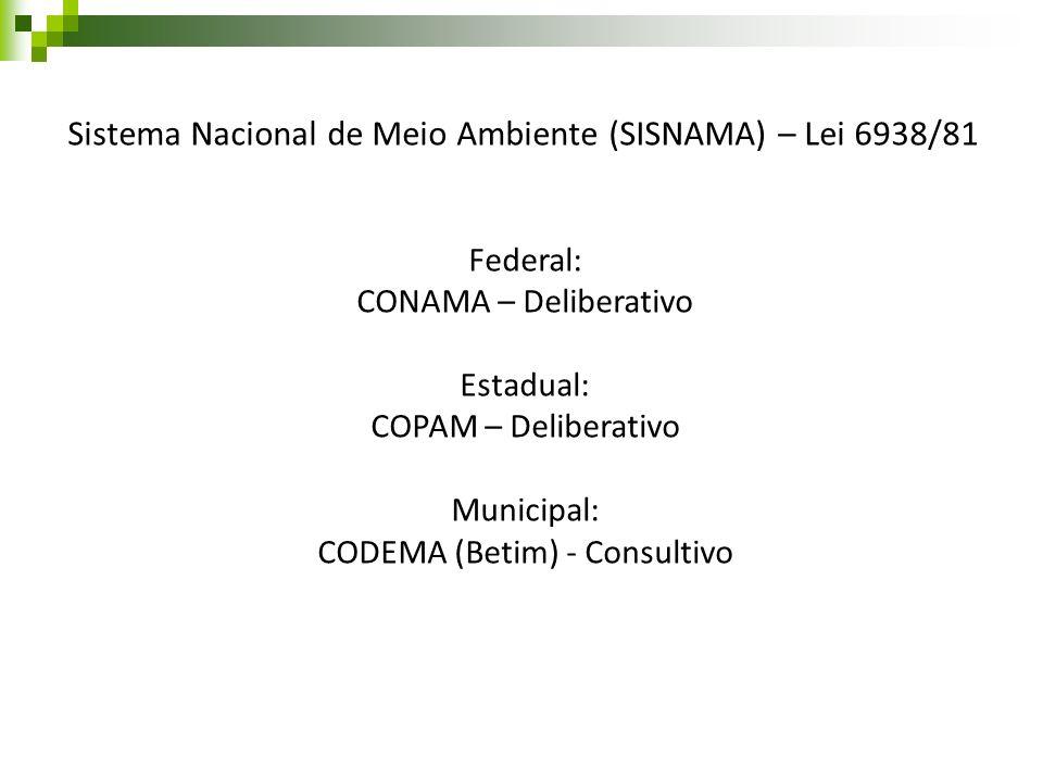 Sistema Nacional de Meio Ambiente (SISNAMA) – Lei 6938/81 Federal: CONAMA – Deliberativo Estadual: COPAM – Deliberativo Municipal: CODEMA (Betim) - Co
