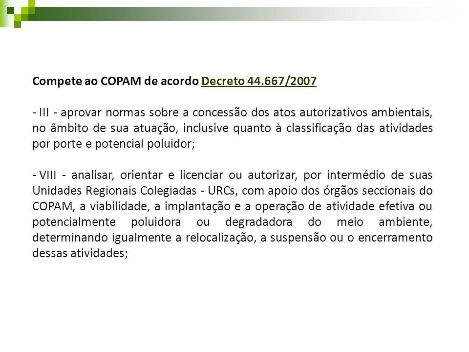 Compete ao COPAM de acordo Decreto 44.667/2007Decreto 44.667/2007 - III - aprovar normas sobre a concessão dos atos autorizativos ambientais, no âmbit