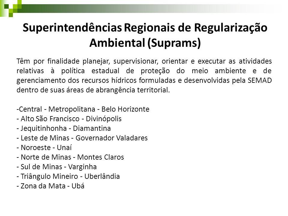 Superintendências Regionais de Regularização Ambiental (Suprams) Têm por finalidade planejar, supervisionar, orientar e executar as atividades relativ