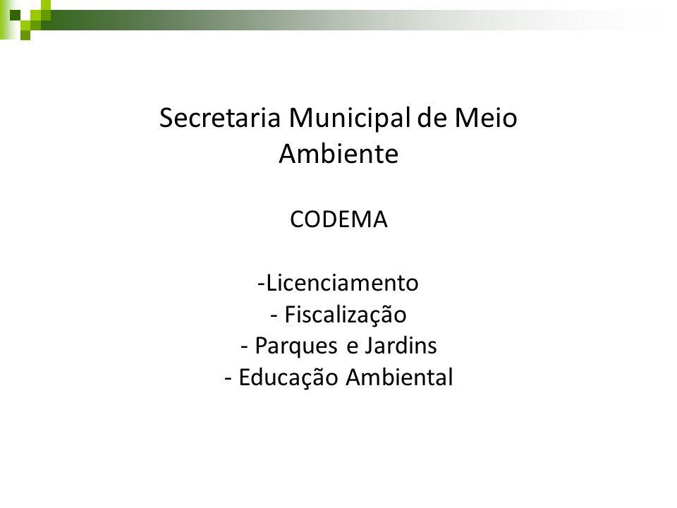 Secretaria Municipal de Meio Ambiente CODEMA -Licenciamento - Fiscalização - Parques e Jardins - Educação Ambiental