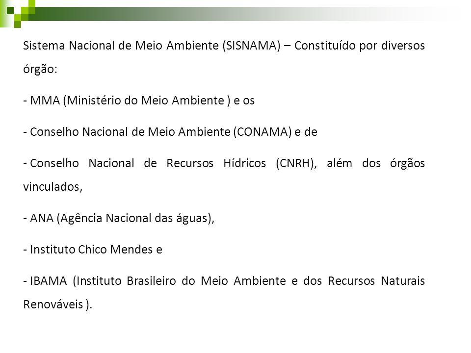 Sistema Nacional de Meio Ambiente (SISNAMA) – Constituído por diversos órgão: - MMA (Ministério do Meio Ambiente ) e os - Conselho Nacional de Meio Am