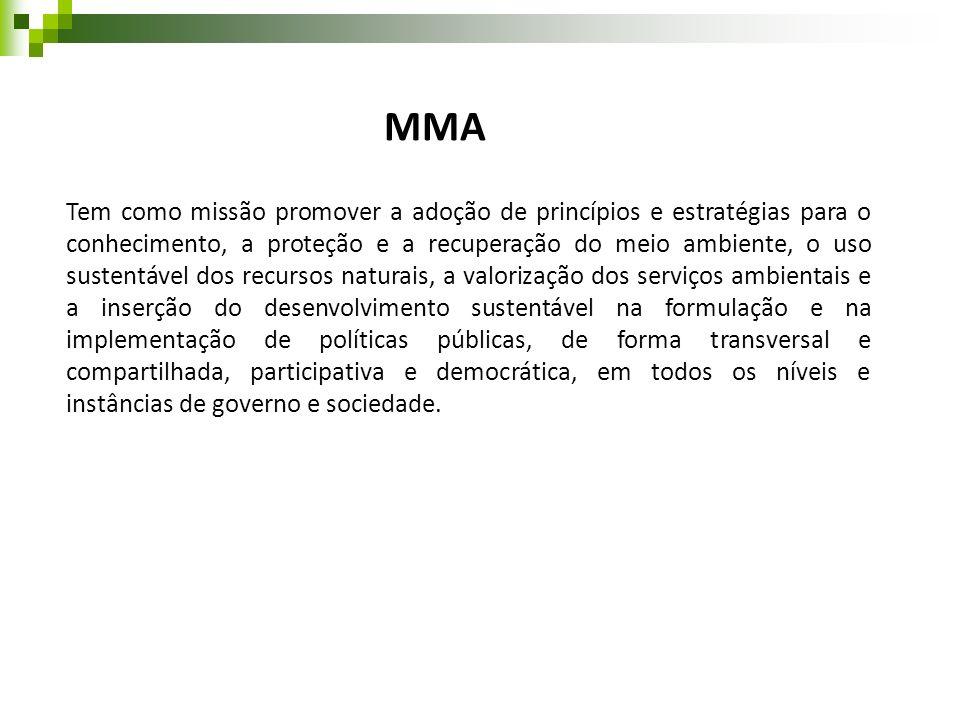 MMA Tem como missão promover a adoção de princípios e estratégias para o conhecimento, a proteção e a recuperação do meio ambiente, o uso sustentável