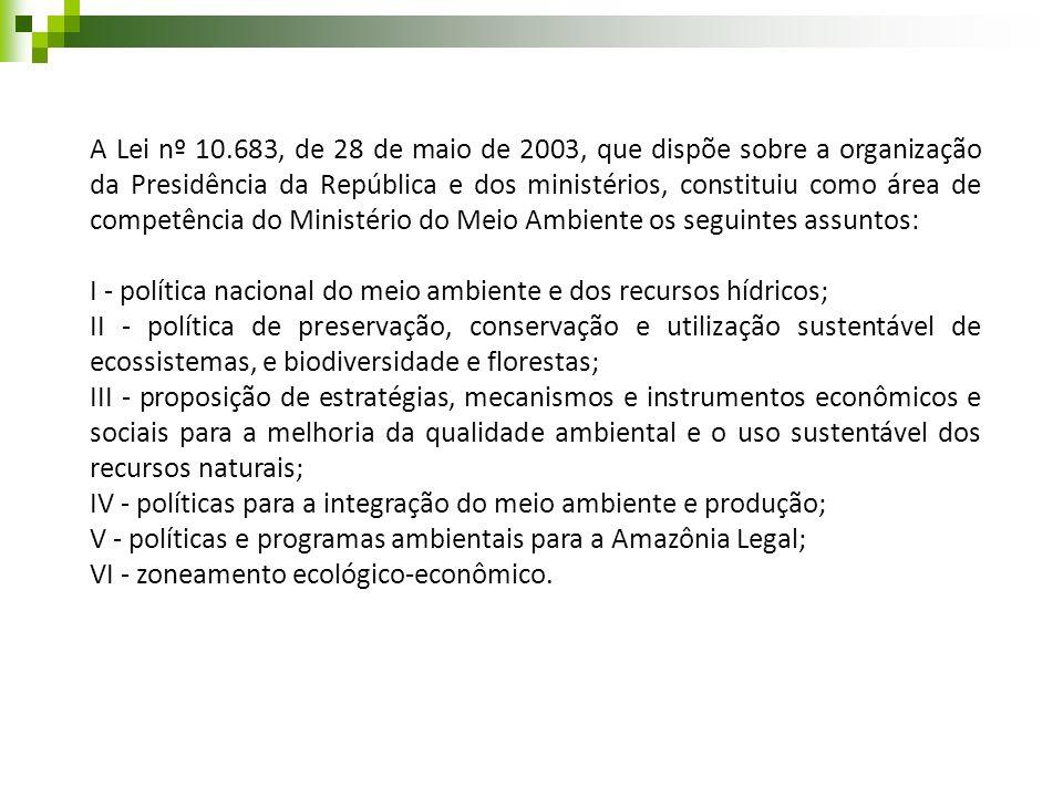 A Lei nº 10.683, de 28 de maio de 2003, que dispõe sobre a organização da Presidência da República e dos ministérios, constituiu como área de competên