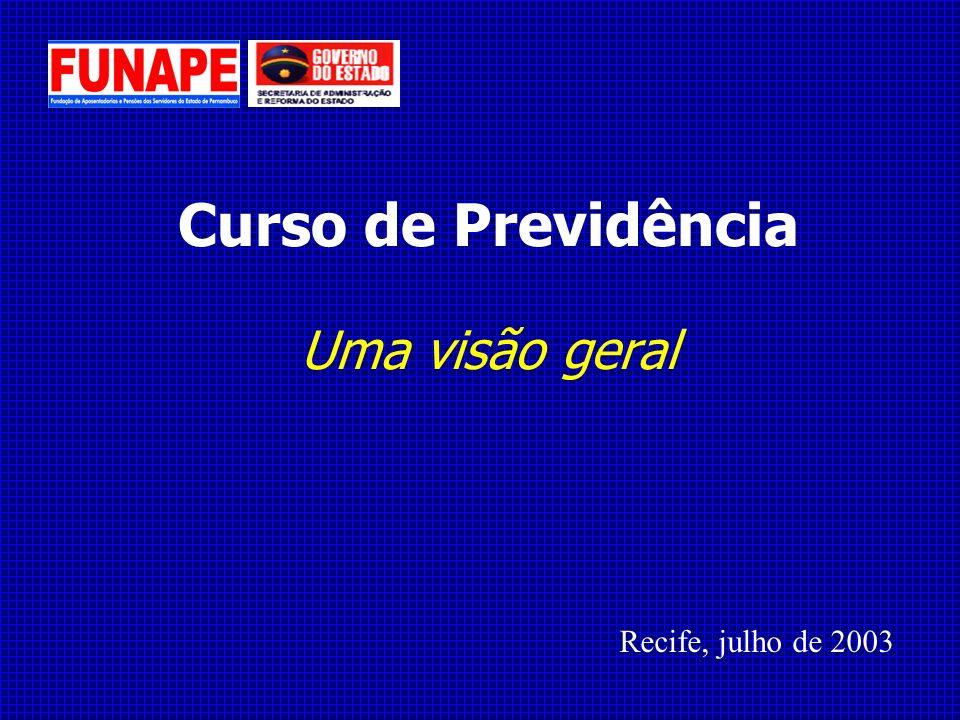Curso de Previdência Uma visão geral Recife, julho de 2003