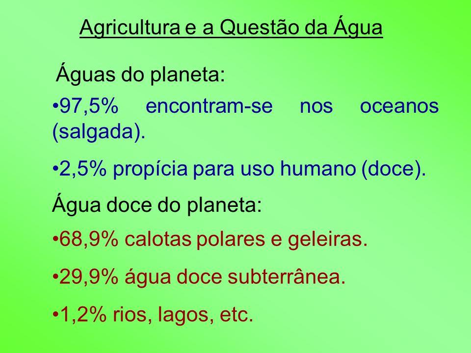 Agricultura e a Questão da Água Águas do planeta: 97,5% encontram-se nos oceanos (salgada). 2,5% propícia para uso humano (doce). Água doce do planeta