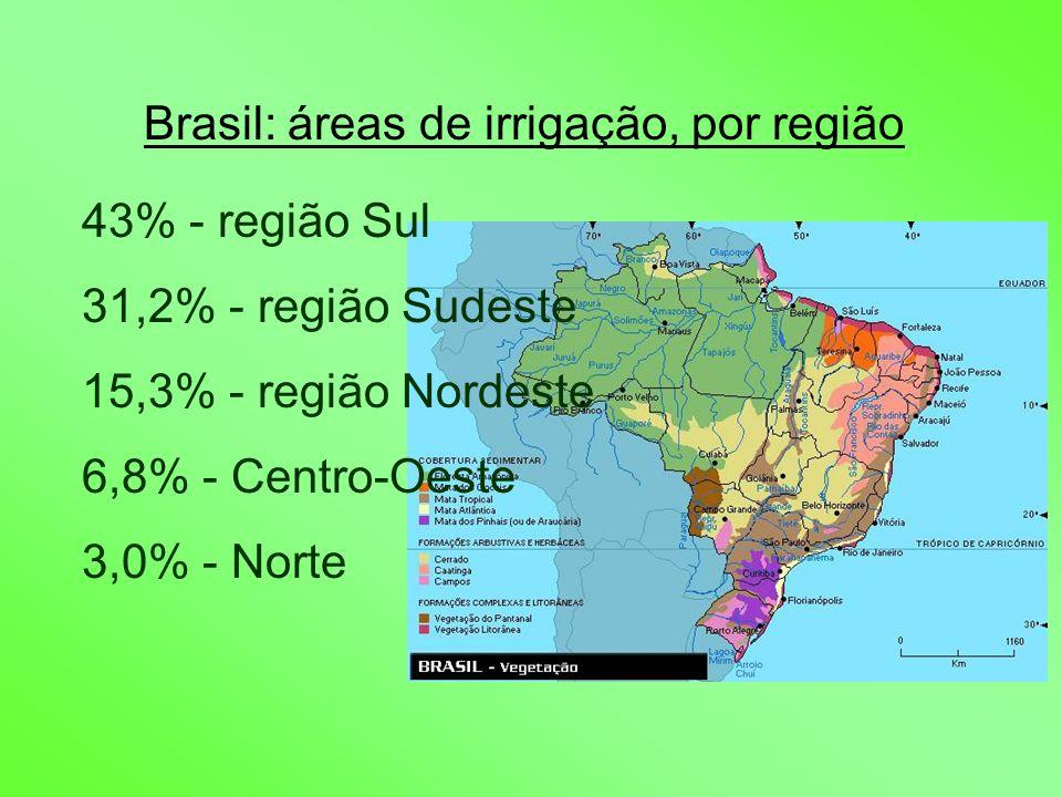 Brasil: áreas de irrigação, por região 43% - região Sul 31,2% - região Sudeste 15,3% - região Nordeste 6,8% - Centro-Oeste 3,0% - Norte